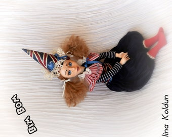 """OOAK Doll / Circus Collection / Travel accessories / Gift for traveller / """"Bim Bom"""""""