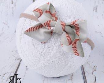 Baseball Bow - Folded Sailor Bow - Hair Bow - Sailor Headband - Clip