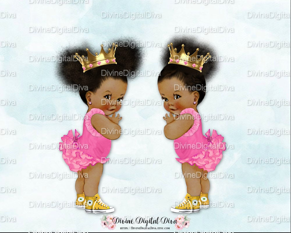 Ruffle Pants Natural Hair Pony Tails Afro Puffs Pink Gold