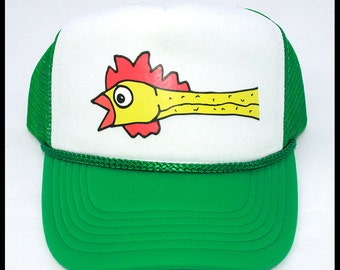 Flying RUBBER CHICKEN TRUCKER cap hat osfa one size fits all retro vintage funny gag gift
