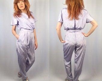Vintage 1980's lavender jumpsuit Size Small 5/6