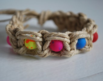 Thick Double Strand Hemp Bracelet with Brightly Colored Beads