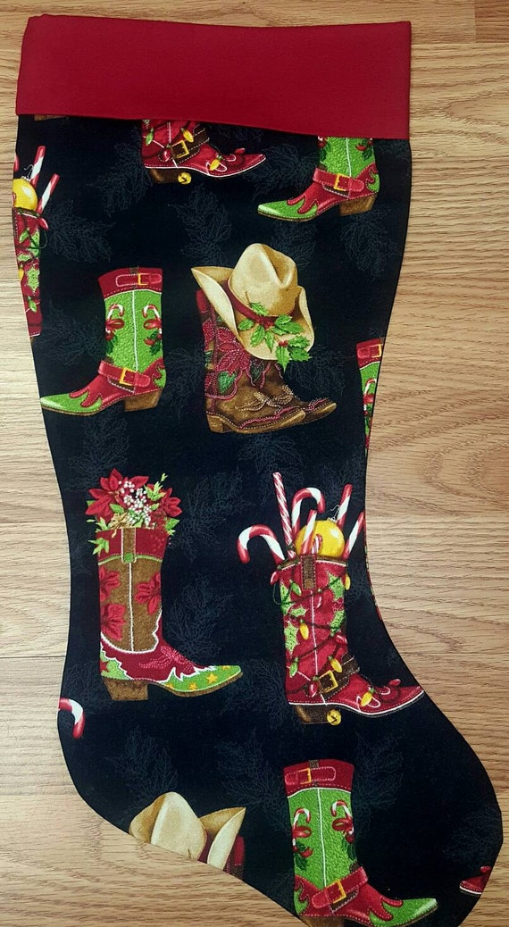 Country Boots Christmas Stocking