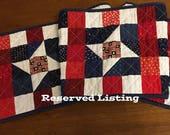 Reserved Listing for Helen: Red, White & Blue Table Runner