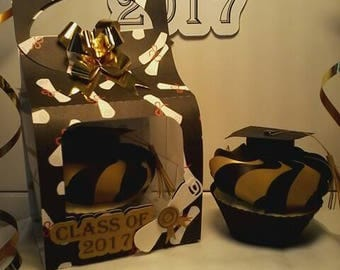 Handmade Black and Gold Graduation Gift Card  Box - Boy - Girl - Money - Party - Gift Card Holder - Cap and Gown - Graduation - Cupcake