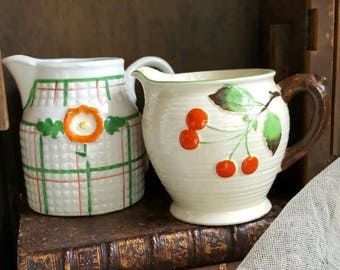 Two Cottage Cream Pitchers  Cherries and Floral Japan
