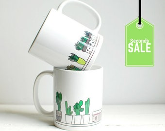 Cactus illustrated coffee mug - sale - slight seconds mugs - bargain coffee cups - shelfie mug