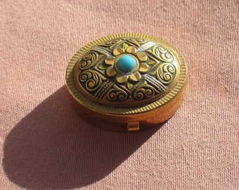 Vintage Damascene Blue Cabochon Pill Box