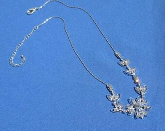 Retro Rhinestone Flower Chain Necklace TLC