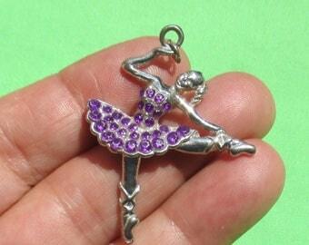 Retro Ballerina Purple Rhinestone Metal Pendant