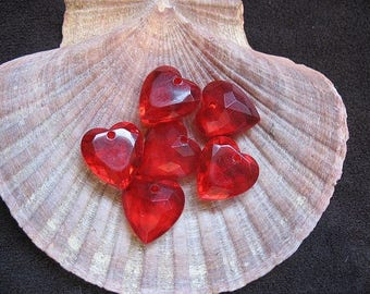 Vintage Lucite Beads Cherry Red Faceted Heart 15mm x 14mm x 7mm - Six pieces