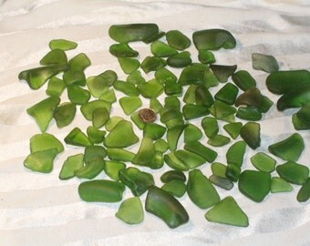 1 pounds  and 4 oz Green 100% Genuine Ocean Tumbled Sea Glass from the Monterey Bay, Grade A and B
