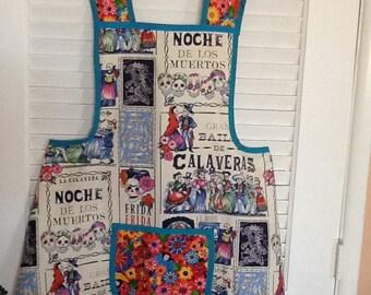 Hand Sewn Apron Frida Kahlo/ Dia de Los Muertos Print