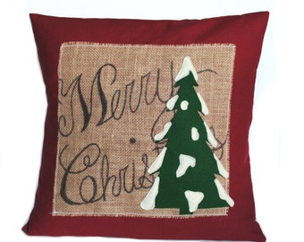 One 'Merry Christmas' tree Pillow cover, 20x20, holiday pillow, decorative pillow, cushion, Christmas decoration