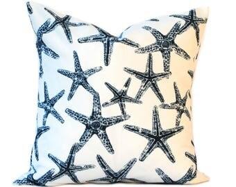 """One Navy  indoor/outdoor pillow cover, 12"""", 14"""", 16"""" 18"""" 20"""", throw pillow, decorative pillow, Nautical Pillow, Starfish Pillow"""