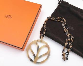 Hermes Faux Tortoise Shell Large Pendant Necklace