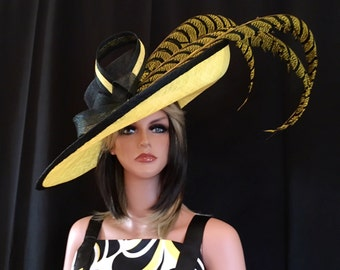 2017 follection.Yellow kentucky derby hat. Derby Hat. Formal hat. Del Mar ,  Royal Ascot hat. Women Couture hat for weddings, races, church