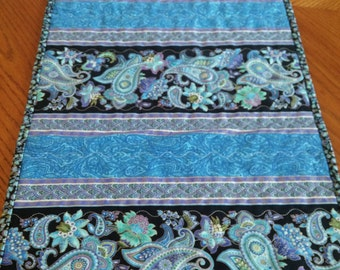 Beautiful Blue Table Runner - Blue Paisley Table Runner - Handmade Table Runner - Quilted Table Runner - Quilted Blue Table Runner
