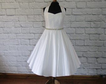 The Mary-Jane tea length halter neck rockabilly wedding dress