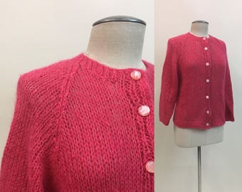 Pink MOHAIR Sweater / Vintage 1960s  Womens Hot pink Cardigan