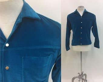 1950s 1960s VELVET Mens Shirt / Vintage Puritan Shirt Jac / Gorgeous electric Blue cotton Velvet