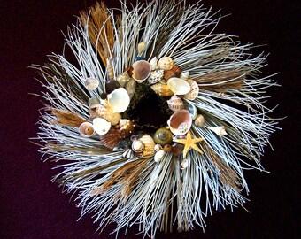 Twig Wreath, Shell Wreath, Beach Wreath, Decorative Wreath, Home Decor Wreath, Door Wreath, Nautical Wreath