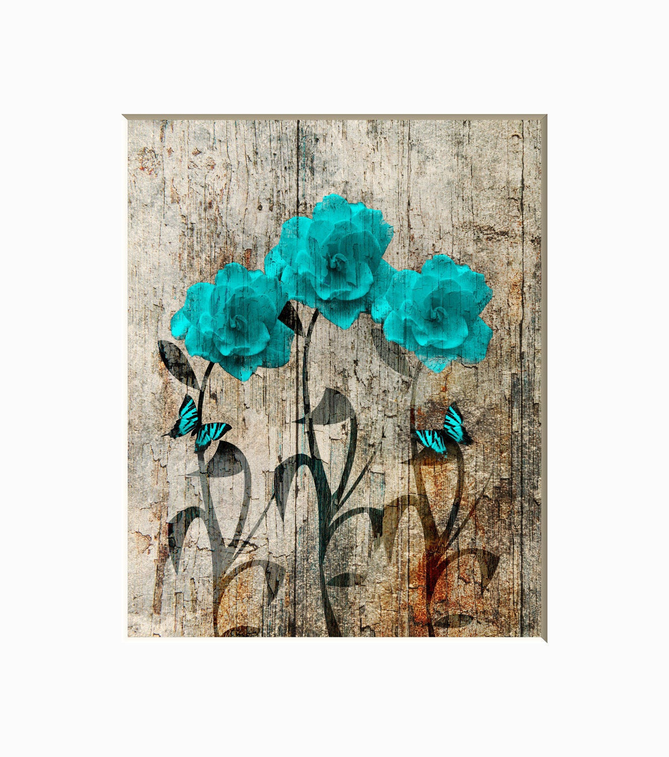 teal brown wall decor rustic farmhouse theme teal flowers. Black Bedroom Furniture Sets. Home Design Ideas