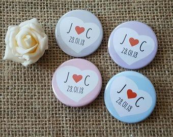 Bulk OFFER - Quirky Love Heart Wedding Badges / Wedding favours