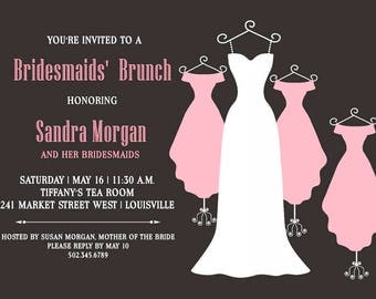 Bridal Shower Invitation, Wedding Dress Bridal Shower Invitation, Bridesmaid Dresses, Bridal Luncheon, Bridal Tea, Bridesmaids Luncheon, DIY