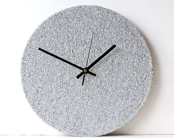 Silver Wall Clock - Decoupage Fabric Wall Clock - Recycled Vinyl Record Clock - Glitter Fabric Clock - Shimmering Clock - Sparkling Clock