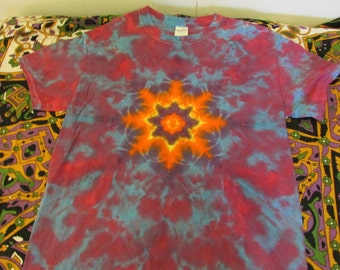 Small Adult Shirt/ Star Mandala/ Tie-Dye Shirt/ Small Tie-Dye Shirts/ Purple Tie-Dye/ Small Adult Tie-Dyes