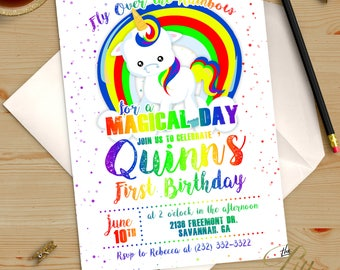 Rainbow Magical Unicorn Birthday Invitation Printable DIY No. I299