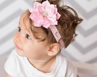 Pink Valentines Headband, Pink Flower Headband, Baby Headband, Baby Girl Headband, Flower Headband, Pink Headband, Valentines Day Headband