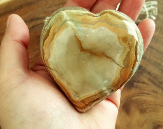 Pakistani Onyx Heart ~ One Reiki Infused gemstone heart approx 3 x 3 inches (PH01)