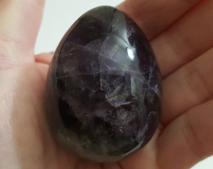 Rainbow Fluorite (Yoni) Egg ~One large 39x51mm Reiki infused polished crystal egg with stand (EG148)