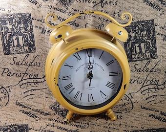 Twin Bell Alarm Clock - Roman Numeral Yellow Distressed