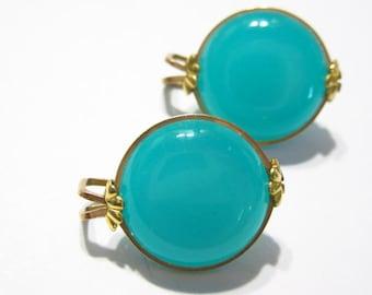 Vintage Aqua Blue Clip On Earrings Moonglow Castlecliff Design Mid Century Plastics