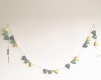Gray soft, green and soft yellow triangles banner - Scandinavian - Modern - Minimalist  - Ornament - 6 feet -  Eco Friendly - Felt Wool