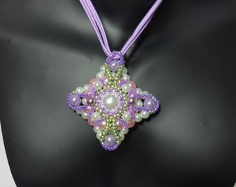 Pearl Necklace Pearl pendant necklace threaded purple lilac necklace glass beads