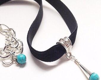 Black Velvet Turquoise Wirewrap Handmade Choker Necklace