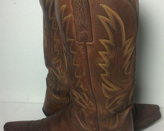 LUCCHESE Brown Leather Western Cowboy Cowgirl Boots Women's Size 8 B