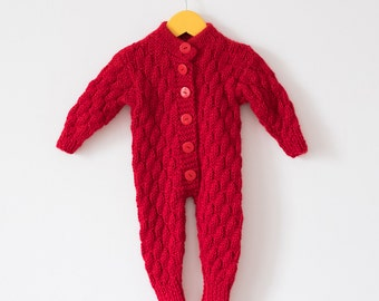 3-6 Baby knit alpaca romper / Winter Knit romper / Baby Clothes / Hand Knitted Cherry Romper