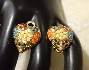 Pretty D'Orlan Faux Turqouise and Coral Seed Bead and Multi-Coloured Rhinstone Heart Shaped Earrings