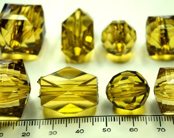 Beautiful Amber faceted acrylic beads, square, bicone and round