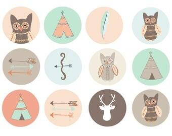 Tribal Animal Drawer Knob, Tribal Nursery Decor, Woodland Animal Hand Painted Drawer Knob