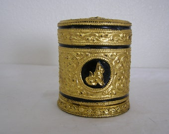 Vintage Keepsake Box, very decorative, round cylinder type box.