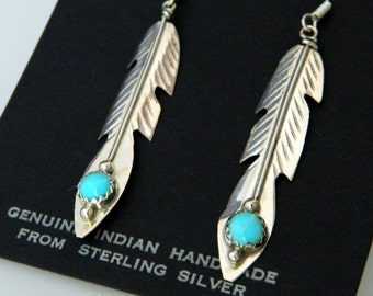 Native American Navajo Turquoise Sterling Feather Dangle Earrings Signed Juan Begay