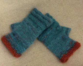 Womens Fingerless Gloves. Alpaca/Wool mix. TealBlue/Copper Orange. Hand Dyed. Hand Spun. Hand Knit.