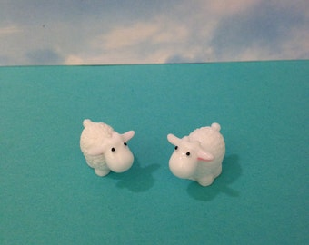 Two Micro Mini Sheep/lambs Fairy Garden Accessories Sheep Figurines