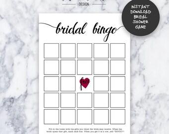 Bridal Shower Bingo Game | Instant Download | DIY | Printable